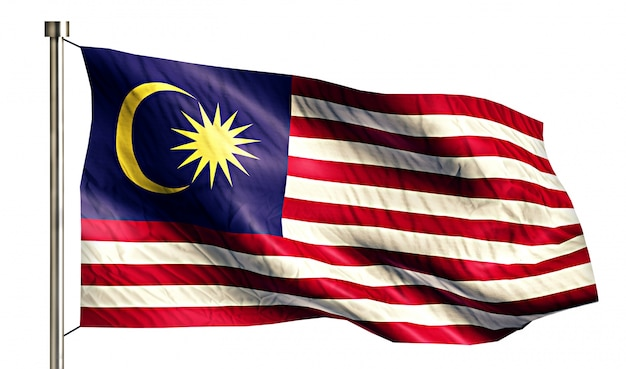 Bandeira nacional da malásia isolated 3d white background Foto gratuita