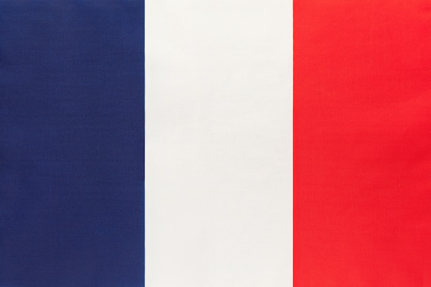 Bandeira nacional de tecido de frança, fundo de têxteis Foto Premium