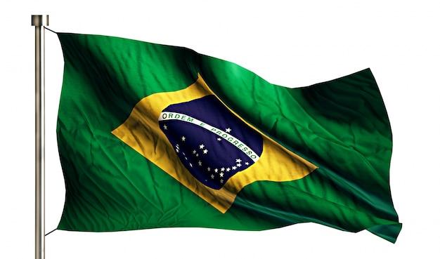 Bandeira nacional do brasil isolada 3d fundo branco Foto gratuita