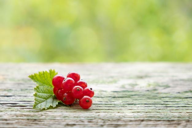 Bando de groselha doce suculento maduro cru em uma mesa de madeira no jardim primavera Foto gratuita