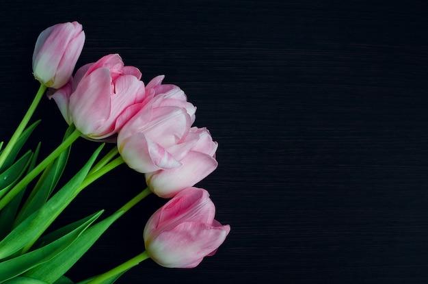 Bando de tulipas rosa primavera fresca Foto Premium