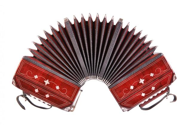 Bandoneon, instrumento de tango, vista frontal, isolado no branco Foto Premium