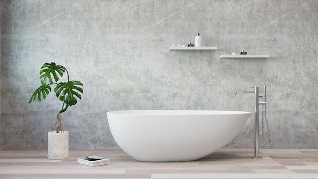Banheira branca em pé em um banheiro moderno. renderização em 3d. . Foto Premium