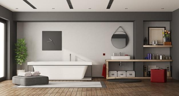 Banheiro amplo com banheira e lavatório Foto Premium