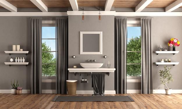 Banheiro clássico com lavatório na prateleira em estilo clássico Foto Premium