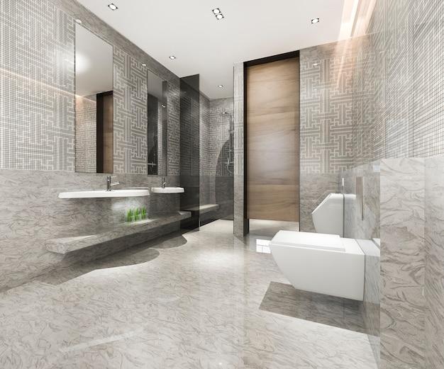 Banheiro clássico moderno com decoração luxuosa em azulejos Foto Premium