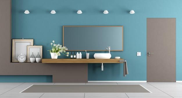 Banheiro moderno azul e marrom Foto Premium