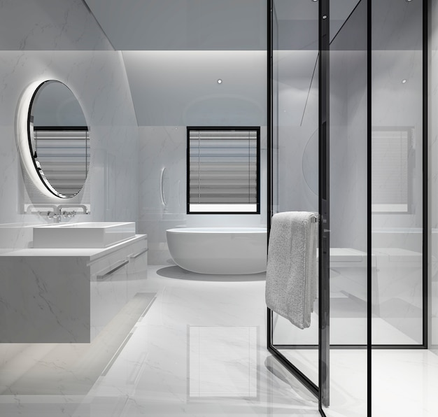 Banheiro moderno da rendição 3d com decoração luxuosa da telha Foto Premium