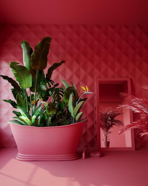 Banheiro rosa com flores tropicais Foto Premium