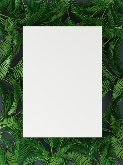 Banner, cartaz com folhas de palmeira Foto Premium