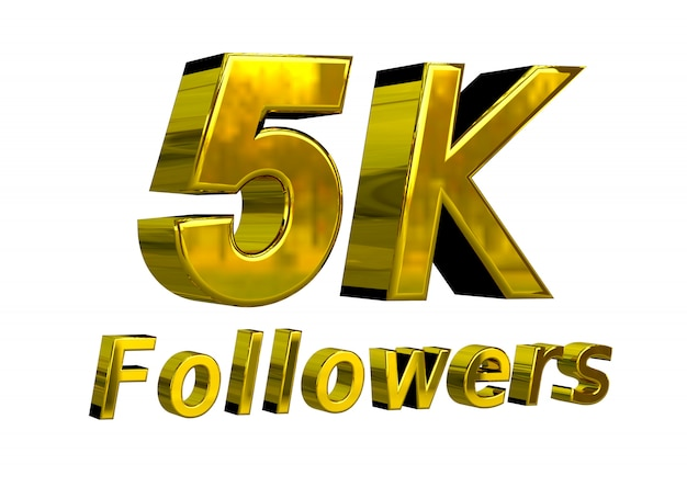 Banner de comemoração de 5k seguidores para uso em mídias sociais Foto Premium