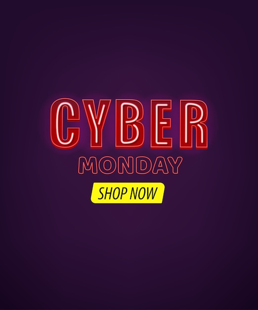 Banner de cyber monday com efeito de texto neon Foto Premium