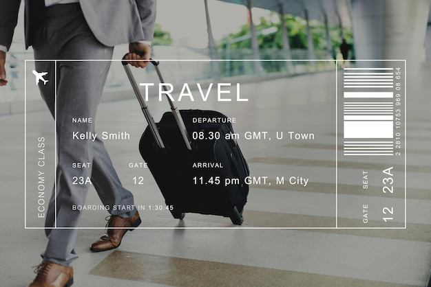 Banner de detalhe de voo no fundo do viajante Foto gratuita
