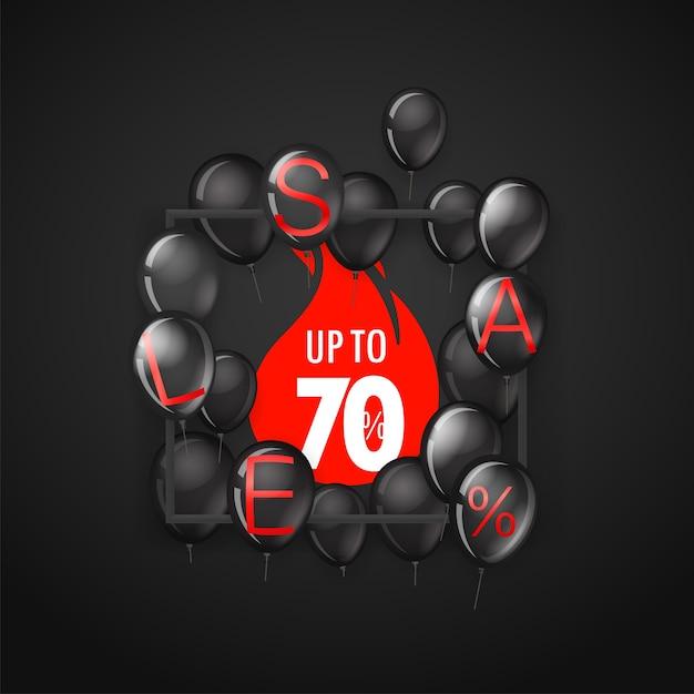Banner preto de venda na sexta-feira com balões de até 70% Foto Premium