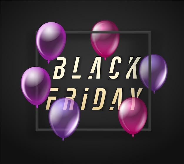 Banner preto de venda na sexta-feira com balões pretos Foto Premium