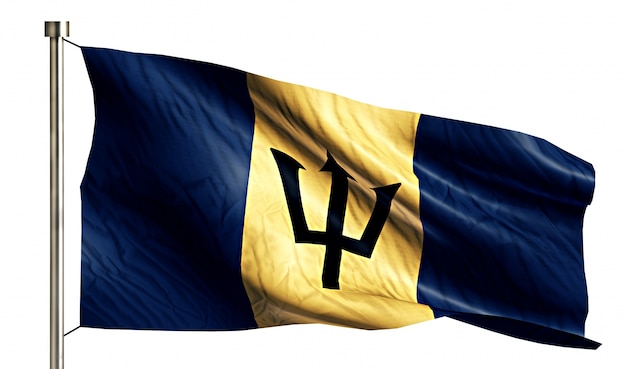Barbados national flag isolated 3d fundo branco Foto gratuita