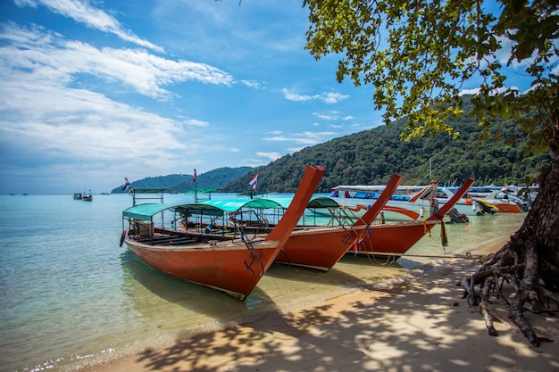 Barco de cauda longa de turista na praia na ilha de surin, tailândia Foto Premium
