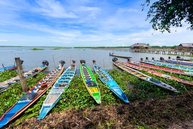 Barcos coloridos na reserva de aves aquáticas de thale noi (tailândia) Foto Premium