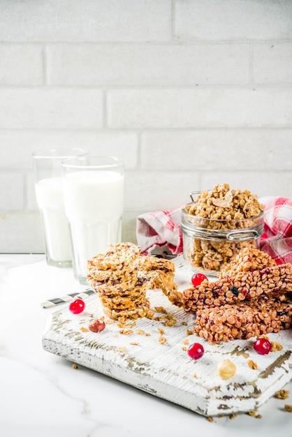 Barra de cereais muesli Foto Premium