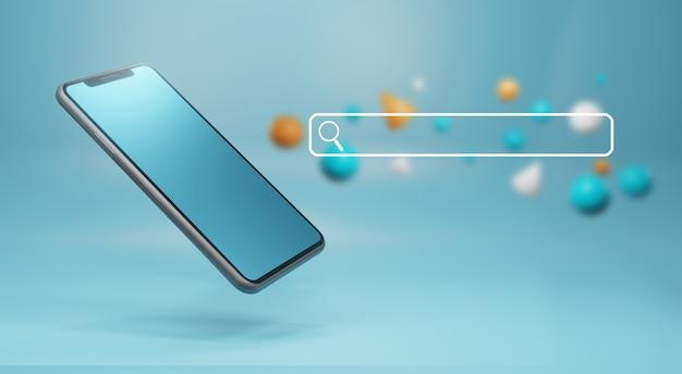 Barra de pesquisa do navegador e smartphone. conceito de internet e tecnologia, renderização em 3d Foto Premium