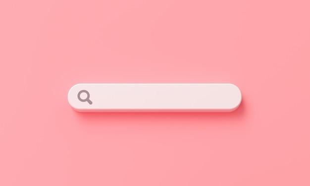 Barra de pesquisa mínima em branco sobre fundo rosa. renderização 3d Foto Premium