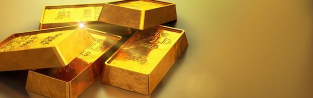 Barras de ouro brilhantes close-up. 3d render Foto Premium