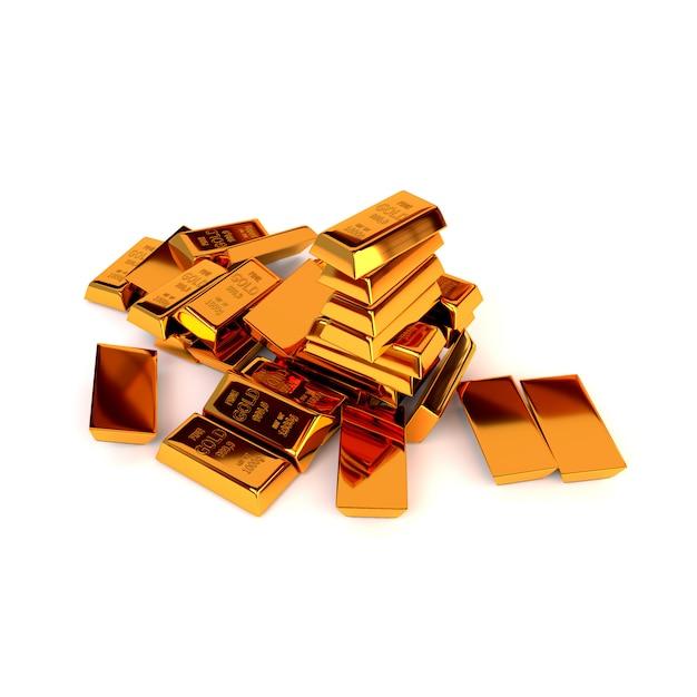 Barras de ouro em um fundo branco. o conceito de sucesso nos negócios. ilustração 3d. render. Foto Premium