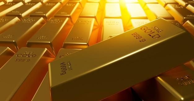 Barras de ouro fundo 3d render Foto Premium