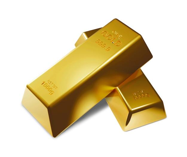 Barras de ouro isoladas no fundo branco, 3d, render Foto Premium