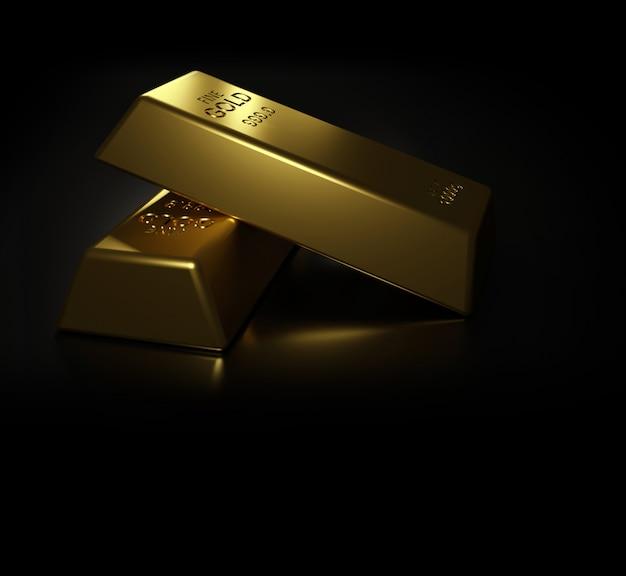 Barras de ouro na mesa preta 3d render Foto Premium