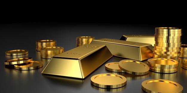Barras de ouro para o site. renderização em 3d. Foto Premium