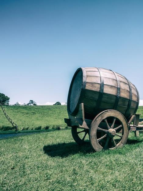 Barril de vinho no campo de grama verde em tom vintage Foto Premium