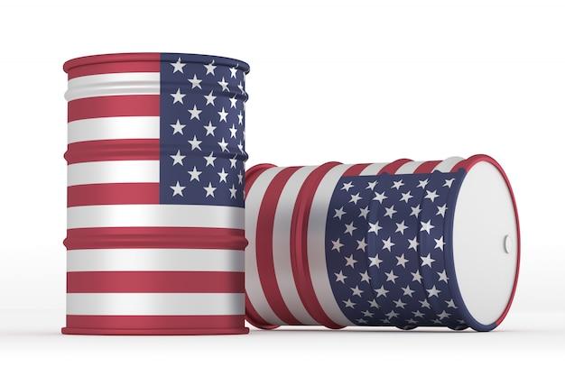 Barris de bandeira com estilo de óleo de eua isolados Foto Premium