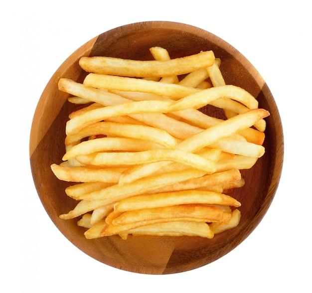 Batatas fritas em um branco Foto Premium