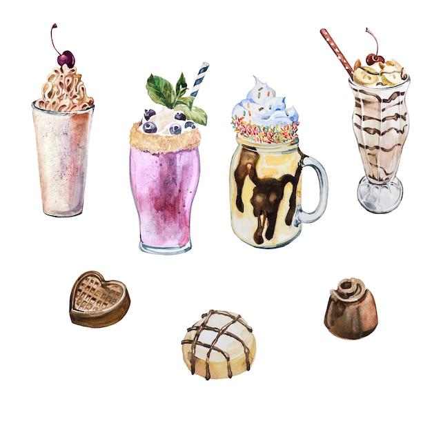 Batidos de aquarela pintados à mão e ilustrações de doces doces isolados. conjunto de clipart em aquarela de coquetéis. elementos de design de doces. Foto Premium