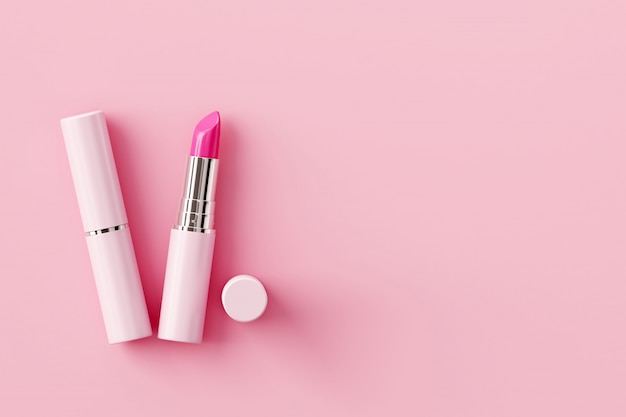 Batom no fundo rosa pastel. conceito de beleza. Foto Premium