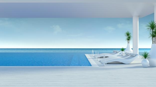 Beach lounge, espreguiçadeiras no deck para banhos de sol e piscina privada em luxo villa / renderização em 3d Foto Premium