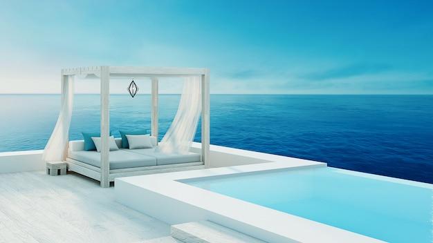 Beach lounge - ocean villa beira-mar e vista para o mar para férias e verão / 3d render ao ar livre Foto Premium