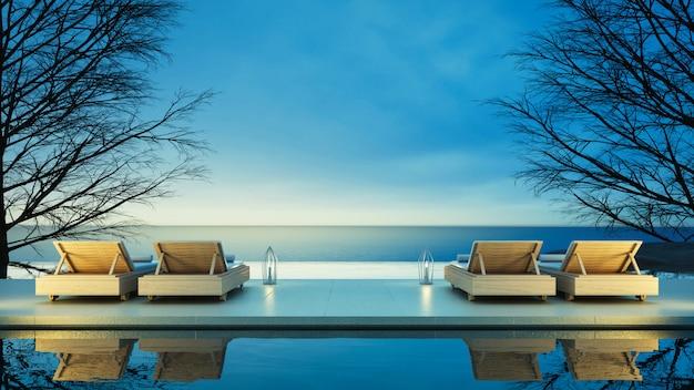Beach lounge - ocean villa em vista para o mar para férias e verão Foto Premium