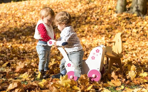 Bebês bonitos do tiro completo que jogam junto Foto gratuita