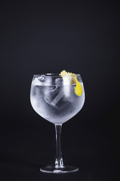 Bebida alcoólica com gelo e limão Foto gratuita