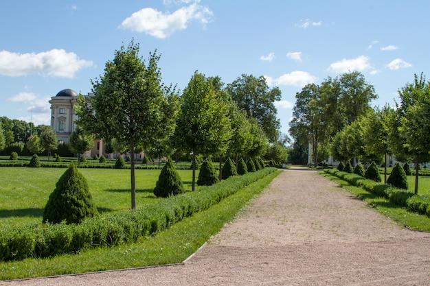 Beco do parque com caminho de pedra esmagada com árvores e arbustos aparados verdes Foto Premium
