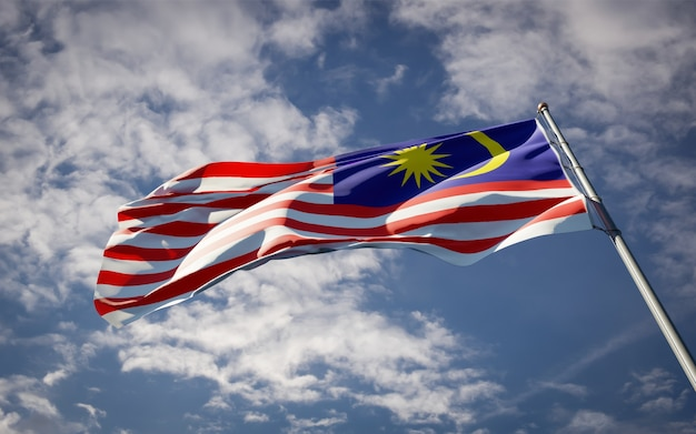 Bela bandeira do estado nacional da malásia tremulando Foto Premium