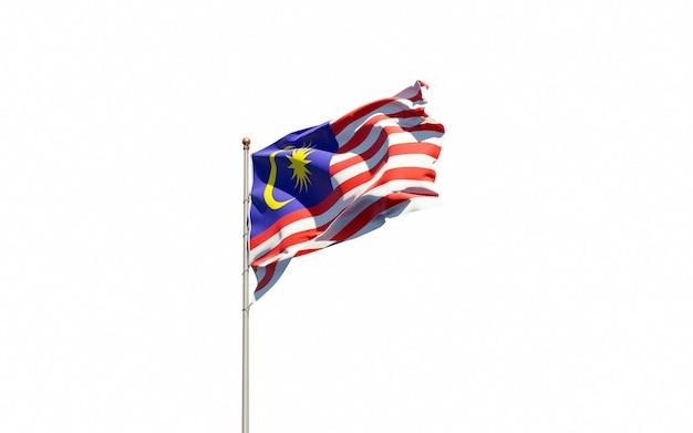Bela bandeira do estado nacional da malásia Foto Premium
