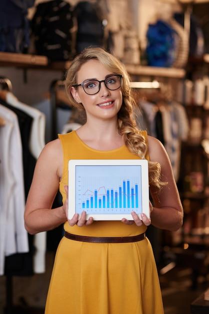 Bela dama caucasiana posando na boutique e mostrando o tablet com gráfico de vendas Foto gratuita