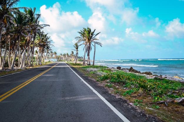 Bela foto de uma estrada na praia com um céu azul nublado ao fundo Foto gratuita