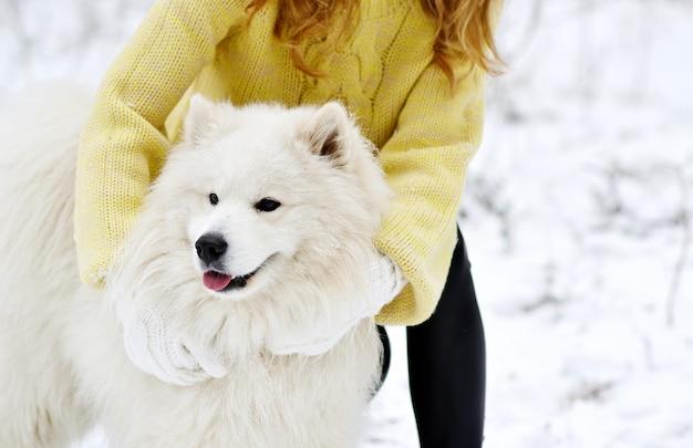 Bela jovem no inverno nevado forest park andando brincando com seu cachorro samoiedo branco sazonal Foto Premium