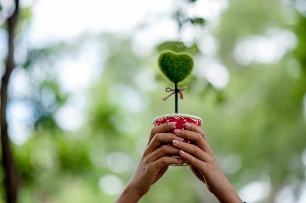 Bela mão verde e imagens de coração dia dos namorados conceito com espaço de cópia Foto Premium