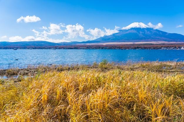 Bela paisagem da montanha fuji em torno do lago yamanakako Foto gratuita