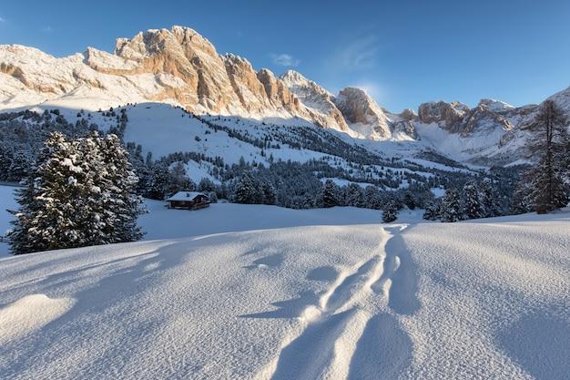 Bela paisagem de neve com as montanhas ao fundo Foto gratuita